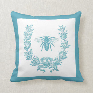 """Vintage French Wreath w/ Bee 20 x 20"""" Pillow Teal Throw Cushions"""