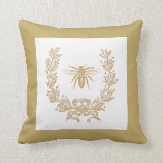 "Vintage French Wreath w/Bee 20x20"" Pillow Mushroom Throw Cushion"