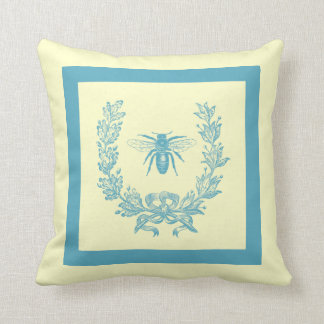 Vintage French Wreath with Bee Pillow 20 x 20 Teal