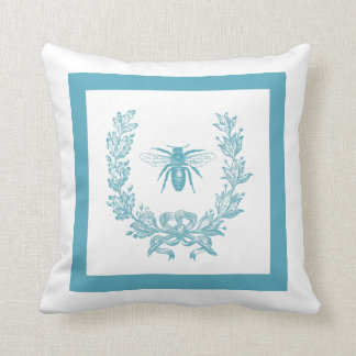 Vintage French Wreath with Bee Pillow 20 x 20 Teal Cushions