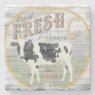 Vintage Fresh Creamery Cow Stone Coaster