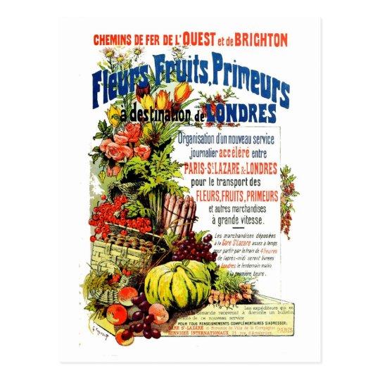 Vintage fresh fruit and flowers Paris to London Postcard