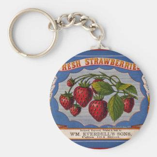 Vintage fresh strawberries ad (1868) basic round button key ring