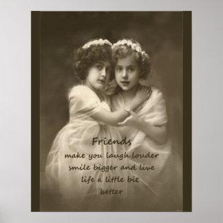 Vintage Friends Friendship Quote Poster
