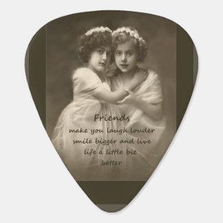 Vintage Friends Inspirational Friendship Quote Plectrum