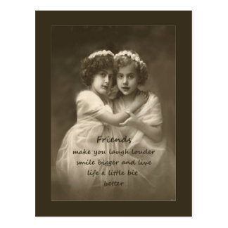 Vintage Friends Inspirational Friendship Quote Postcard