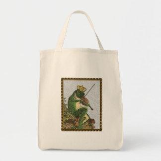 Vintage Frog Prince Charming Grocery Tote Bag