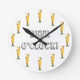 Vintage Frosty Beer O'clock! Alcohol Beverage Round Clock