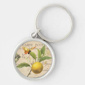 Vintage Fruit and Floral Postcard....keychain Silver-Colored Round Key Ring