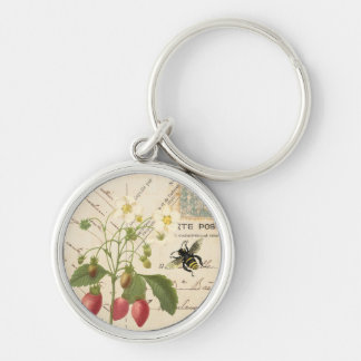 Vintage Fruit and Floral Postcard...keychain Silver-Colored Round Key Ring
