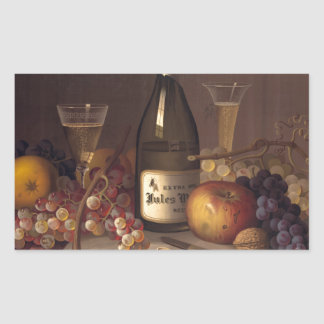 Vintage Fruit And Wine Rectangular Sticker