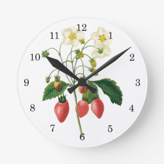 Vintage Fruit Berries Food Strawberries by Redoute Round Clock