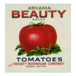 Vintage Fruit Crate Label, Arcadia Beauty Tomatoes Poster