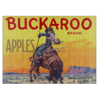 Vintage Fruit Crate Label Art, Buckaroo Apples Cutting Board
