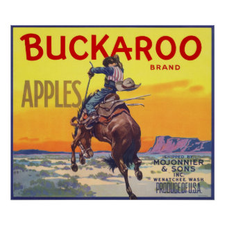 Vintage Fruit Crate Label Art, Buckaroo Apples Poster