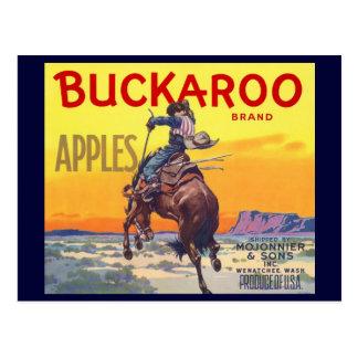 Vintage Fruit Crate Label Art, Bucking Cowboy Postcard