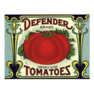 Vintage Fruit Crate Label Art, Defender Tomatoes Postcards