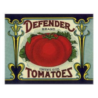 Vintage Fruit Crate Label Art, Defender Tomatoes Poster