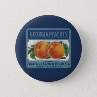 Vintage Fruit Crate Label Art, Georgia Peaches 6 Cm Round Badge