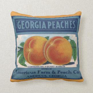 Vintage Fruit Crate Label Art, Georgia Peaches Cushion