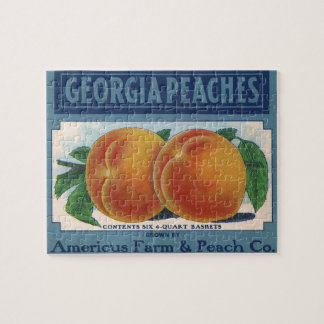 Vintage Fruit Crate Label Art, Georgia Peaches Jigsaw Puzzle