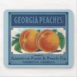 Vintage Fruit Crate Label Art, Georgia Peaches Mouse Pad