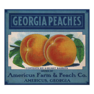 Vintage Fruit Crate Label Art, Georgia Peaches Poster