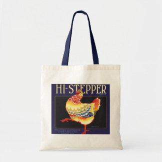 Vintage Fruit Crate Label Art, Hi Stepper Chicken Budget Tote Bag
