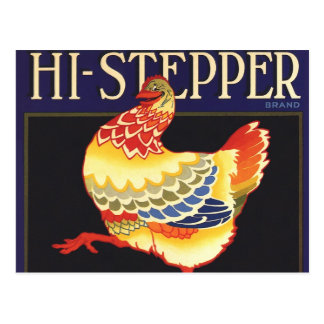 Vintage Fruit Crate Label Art, Hi Stepper Chicken Post Card