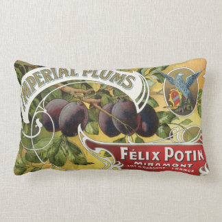 Vintage Fruit Crate Label Art, Imperial Plums Lumbar Cushion