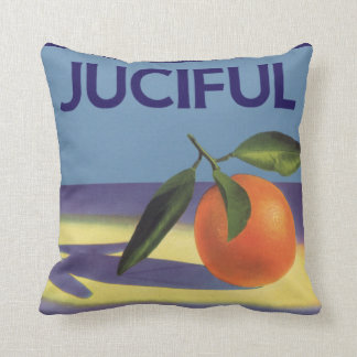 Vintage Fruit Crate Label Art, Juciful Oranges Cushion