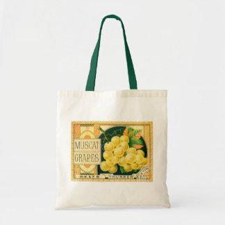 Vintage Fruit Crate Label Art, Muscat Grapes Budget Tote Bag