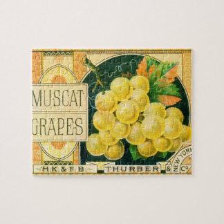 Vintage Fruit Crate Label Art, Muscat Grapes Jigsaw Puzzle