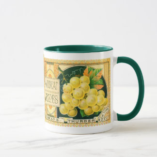 Vintage Fruit Crate Label Art, Muscat Grapes Mug