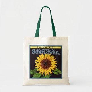 Vintage Fruit Crate Label Art Orangedale Sunflower Budget Tote Bag