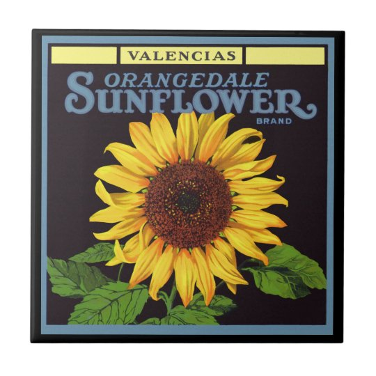 Vintage Fruit Crate Label Art Orangedale Sunflower Small Square Tile