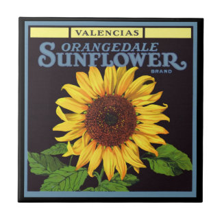 Vintage Fruit Crate Label Art Orangedale Sunflower Tiles