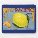 Vintage Fruit Crate Label Art Pacific Citrus Lemon Mouse Pad