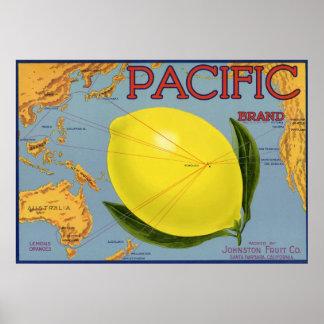 Vintage Fruit Crate Label Art Pacific Citrus Lemon Poster