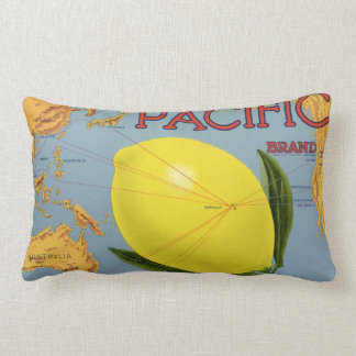 Vintage Fruit Crate Label Art Pacific Lemon Citrus Lumbar Cushion