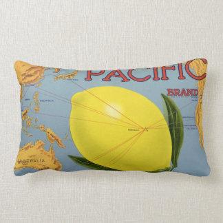 Vintage Fruit Crate Label Art Pacific Lemon Citrus Lumbar Pillow