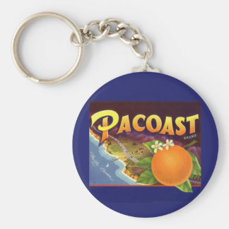 Vintage Fruit Crate Label Art, Pacoast Oranges Keychains