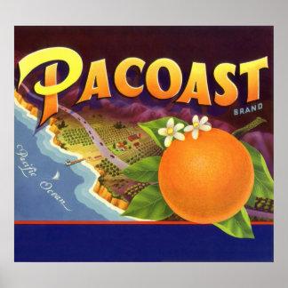 Vintage Fruit Crate Label Art, Pacoast Oranges Poster