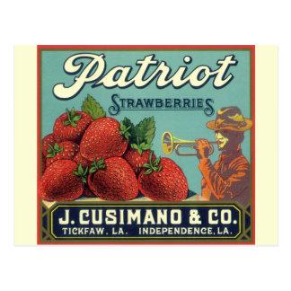 Vintage Fruit Crate Label Art Patriot Strawberries Postcard