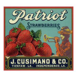 Vintage Fruit Crate Label Art Patriot Strawberries Poster