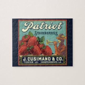 Vintage Fruit Crate Label Art Patriot Strawberries Puzzle