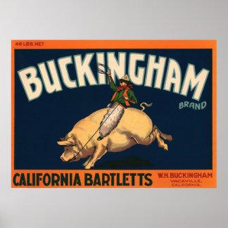 Vintage Fruit Crate Label Art Rodeo Cowboy on Pig Poster