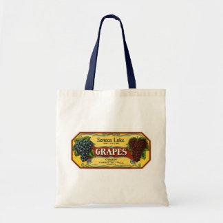 Vintage Fruit Crate Label Art, Seneca Lake Grapes Budget Tote Bag