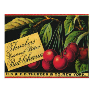 Vintage Fruit Crate Label Art, Thurber Cherries Postcard