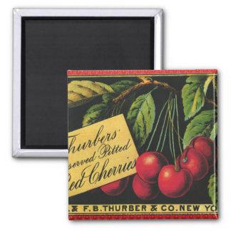 Vintage Fruit Crate Label Art, Thurber Cherries Square Magnet